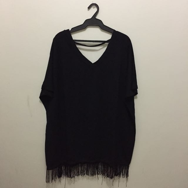 Loose Black V-neck Dress w/ Fringe
