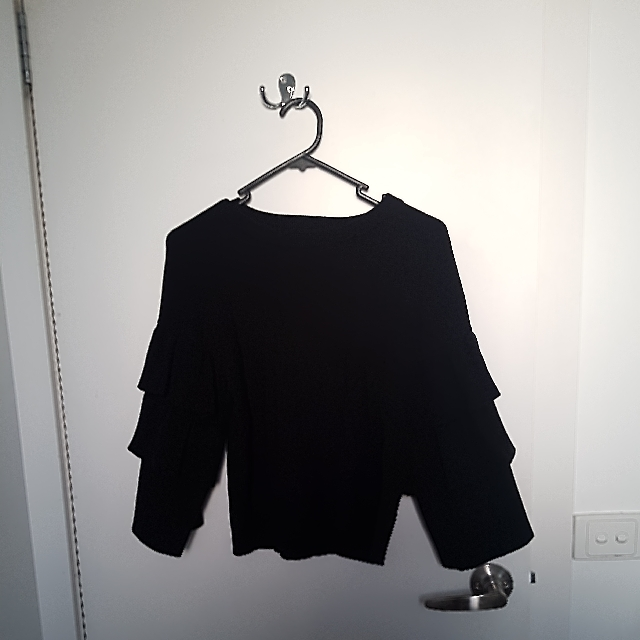 Luvalot Black Frill Arm Top - Size S