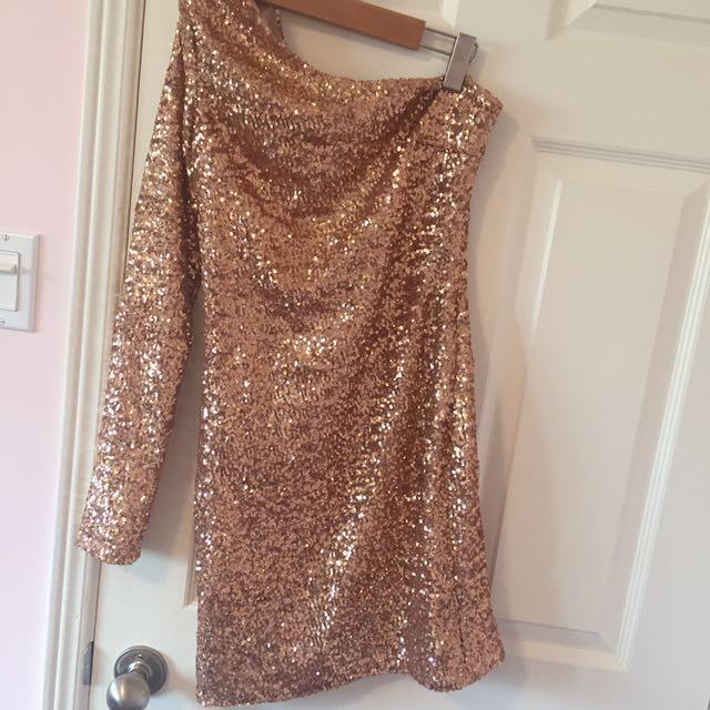 Nastygal one shouldered gold sequins dress