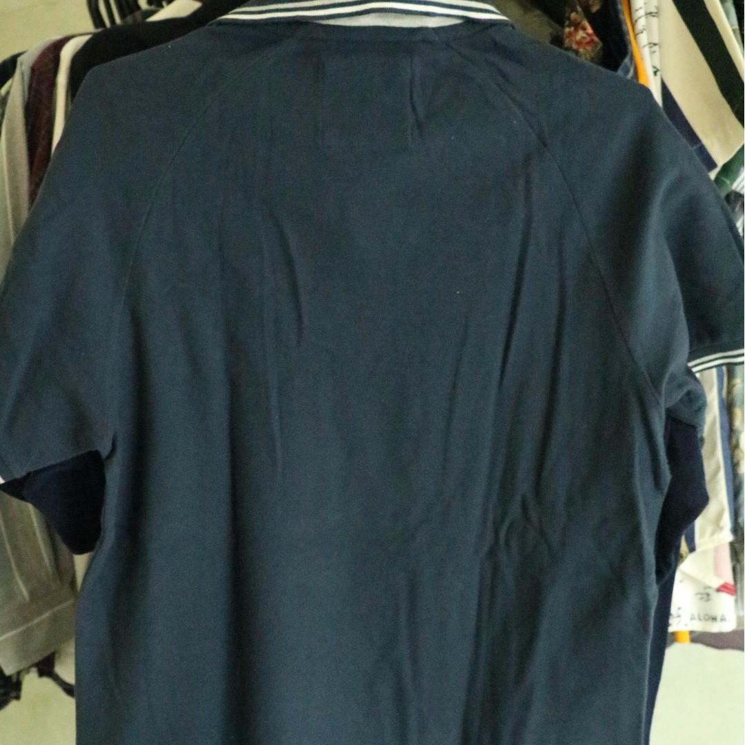 Old Navy Moisture-Wicking Uniform White Blue Polo Shirt Girls Size L 10-12
