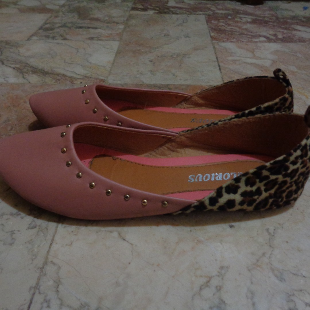Pink Ballet Flats with Leopard Detail