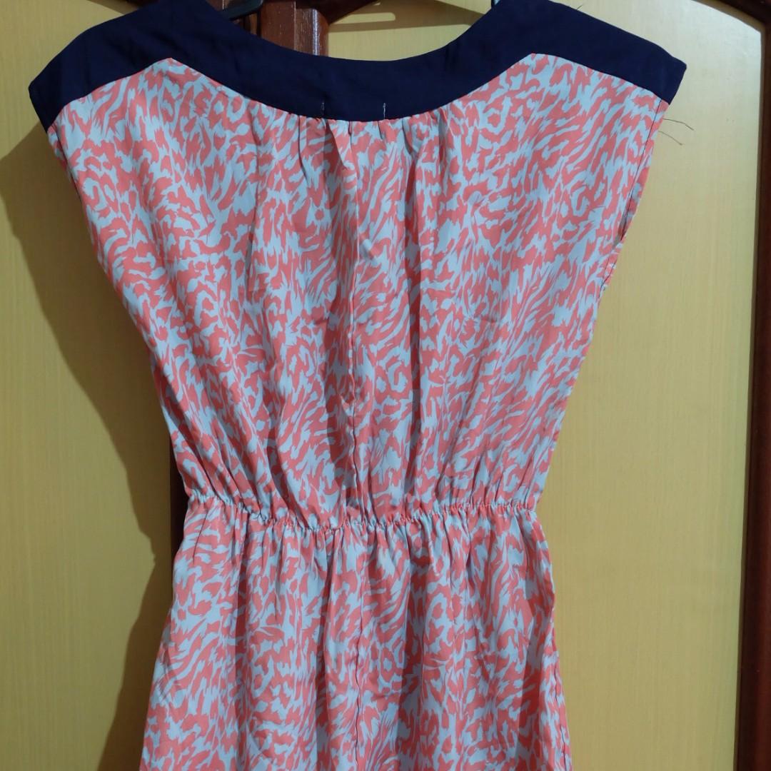 Preppy Peach-Blue Chiffon Dress