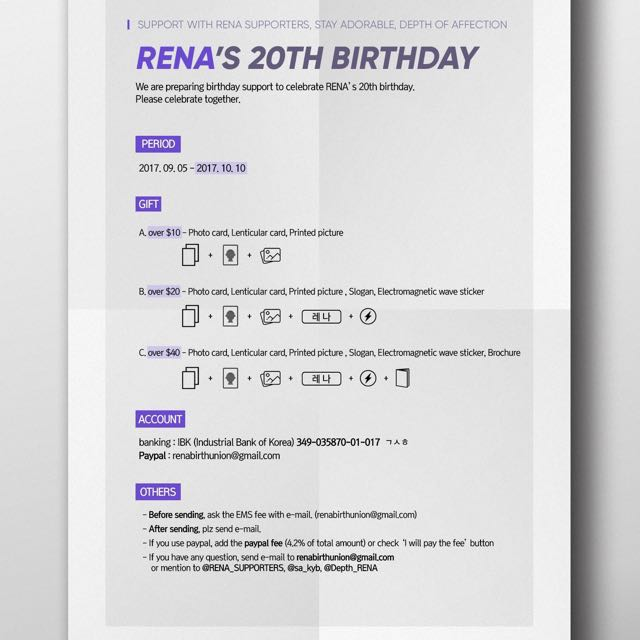 Rena Birthday Gifts Support Entertainment K Wave On Carousell