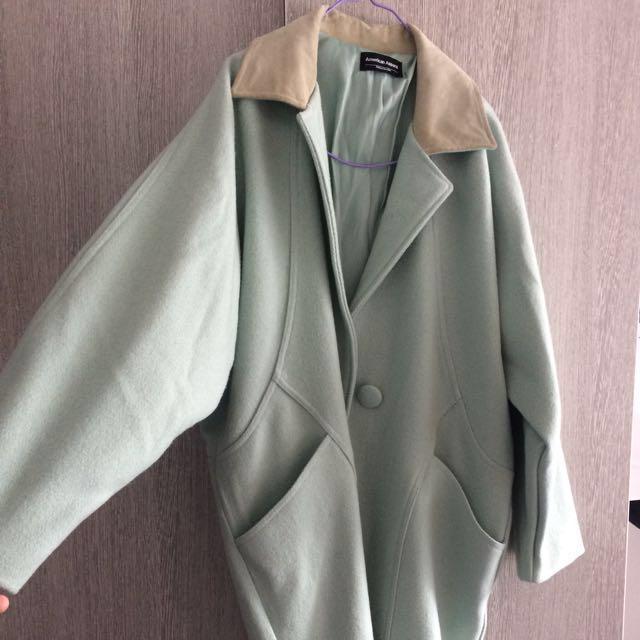 RPR $260 American Apparel Unisex Pastel Long Wool Coat (Menthe)