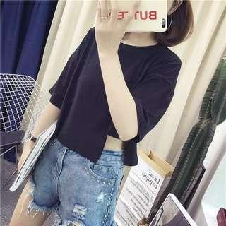 【貝莉潮流】韓版原宿bf風素色短款學生高腰寬鬆短版T恤短袖潮