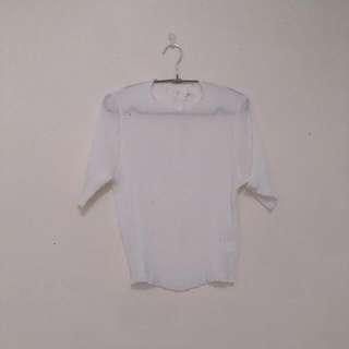 皺褶 白色五分袖摺摺衣