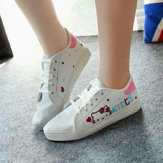 Sepatu Kets Wanita Lukis Hello Kitty Putih