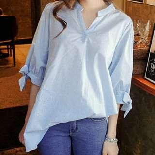 隨性風 寬鬆 大碼 V領 短袖 蝴蝶結 中長款 上衣 襯衫(淺藍色)