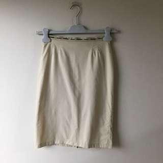 Fendi Jeans Beige Pencil Skirt S Logo Streetwear Hype