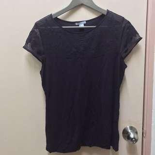 H&M purple lace tshirt L