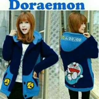 Jaket Wanita Hoodie Doraemon Laugh