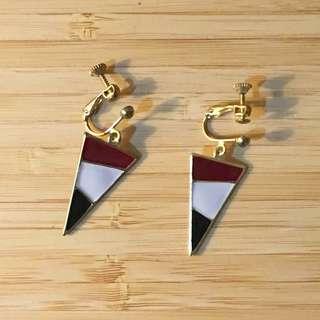 日本 三角 幾何 夾式 耳環