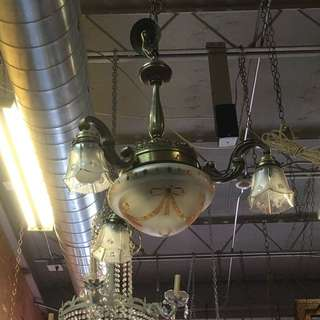 VINTAGE ANTIQUE LIGHT FIXTURE WIRED AND WORKING