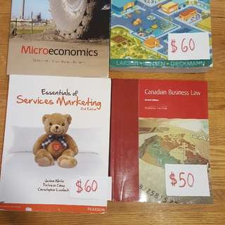 Service Marketing. Microeconomics. Canadian Business Law. Accounting Principles
