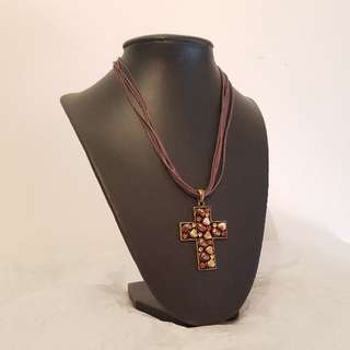 PRELOVED Brown Beaded Cross Necklace