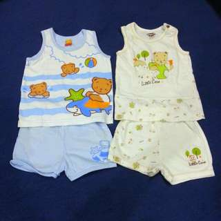 Preloved Pigeon Sleeveless With Shorts For Babyboy 6-12m