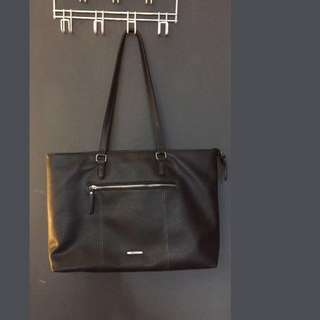 Black leather Roots tote bag/laptop carrier
