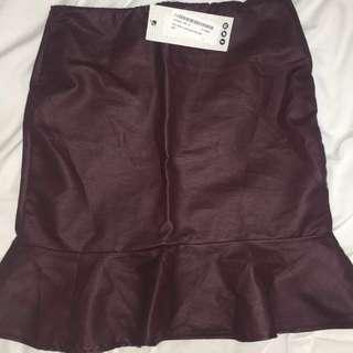 BNWT Leather Look Plum Skirt