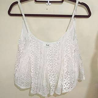 White Laced Crop Top
