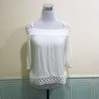 Whitw off shoulder top