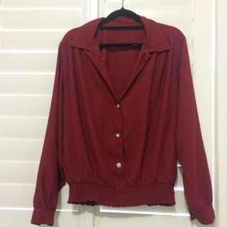 Vintage red Collard Blouse Top