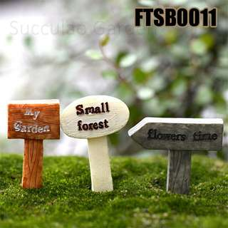 FTSB0011 Three Signboard, resin - My Garden, Small Forest, Flowers Time, total 3pcs