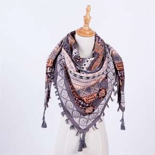 Grey Printed Scarf with Tassels