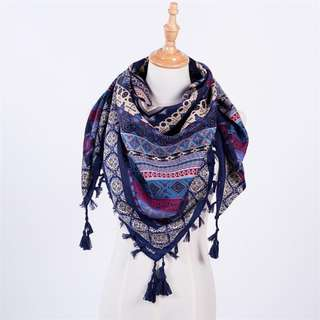 Navy Printed Scarf with Tassels