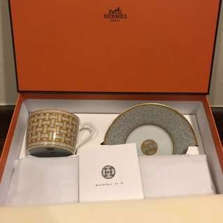 Hermes Mosaique China Ware (tea Cup And Saucer)