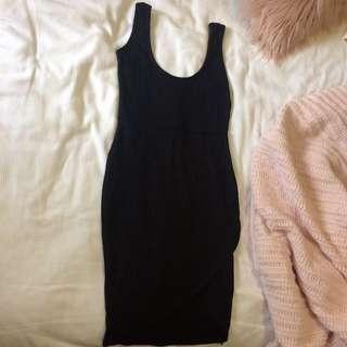 Black Ribbed Wrap Dress
