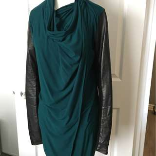 EUC DANIER GENUINE LEATHER SLEEVED DRAPE CARDIGAN - XS