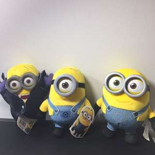 Minion Plush ALL THREE (Bob, Stuart & Vampire)