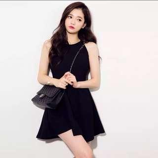 韓版削肩收腰傘擺小洋裝連身裙