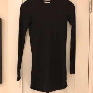 Long Black Tight Ribbed Tunic Long Sleeve