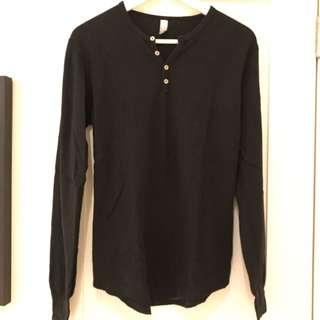 American Apparel Black Waffle Shirt