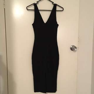 Size 6 Luvaloy Black Body Con Dress