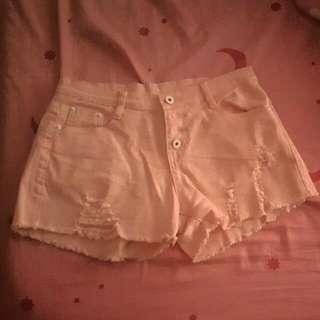 牛仔粉色短褲(L)