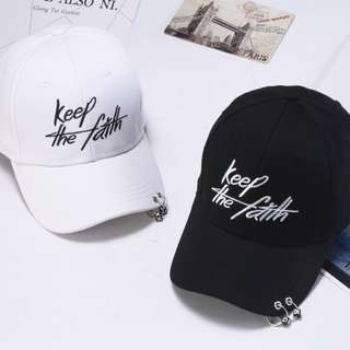 "Brand new Korean trend style black / white baseball cap ""Keep the faith"""