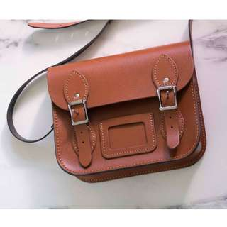 Leather Satchel Company mini crossbody shoulder bag in london tan
