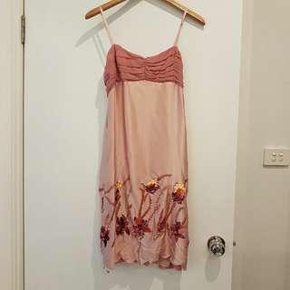 Alannah Hill Silk Sequin Pink Dress Size12