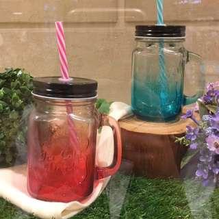 調色梅森杯兩入 耐熱玻璃杯/馬克杯/吸管杯