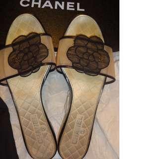 CHANEL 山茶花網紗 涼鞋  38 C
