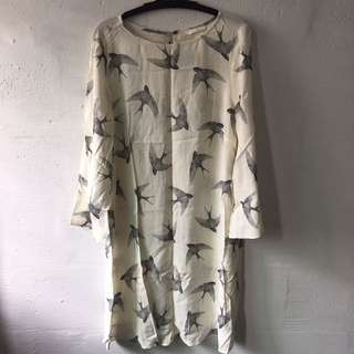 H&M Off-White Bird Dress
