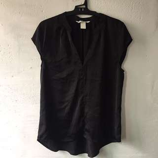 H&M Silk Black Top