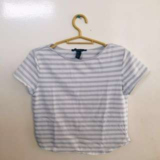 Forever21 Baby Blue Stripes Semi Cropped Top