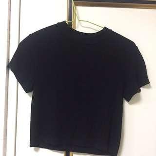 羅紋短版黑色上衣