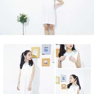 無袖洋裝 白色