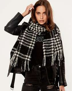 GLASSONS - Check Tassel Scarf