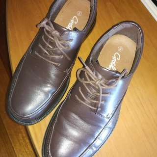 Brown Faux leather shoes, Size 8. Ideal For School.