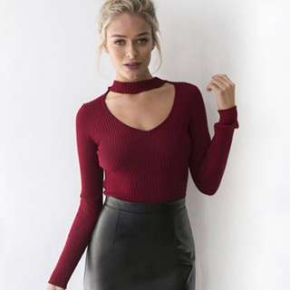 Knitted Choker Long Sleeve Top
